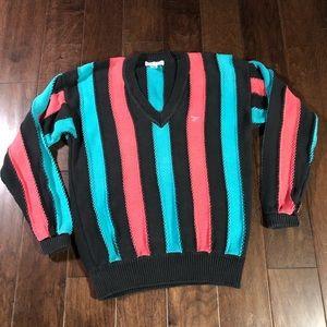 Vintage Cool IZOD Pastel Striped Sweater (Medium)